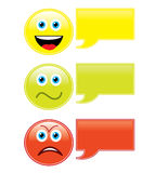 Emoticons with speech bubbles. Expressing positive, neutral and negative feelings. Eps file available Royalty Free Stock Image