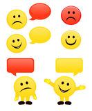 Emoticons & speech bubbles. Happy and sad emoticons with blank speech bubbles Royalty Free Stock Photos