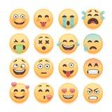 Emoticons ställde in, emojiuppsättningen, smileysamling Emoticons packar för beståndsdelar för pratstund- och rengöringsdukapp-de Arkivfoto