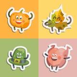 Emoticons stellten Aufkleberikonen für Danksagungstag ein Lizenzfreie Abbildung