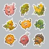 Emoticons stellten Aufkleberikonen für Danksagungstag ein Vektor Abbildung