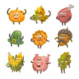 Emoticons stellten Ikonen für Danksagungstag ein Lizenzfreie Abbildung