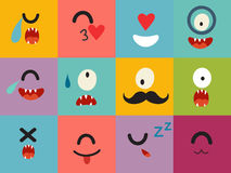 Emoticons vector pattern. Emoji cute cyclops square icons. Cute emoji colorfull illustration. Monsters, flat cartoon style. Face funny halloween backgound Stock Photo