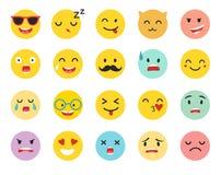 Emoticons vector set. Emoji icons, yellow circle illustration. Cute funny emoji. Emoji big set flat cartoon style. Isolated on white background Royalty Free Stock Photos
