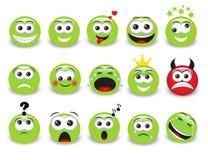 Emoticons verdes ilustración del vector
