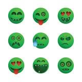 Emoticons verdes del zombi Fotos de archivo libres de regalías