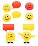Emoticons y burbujas del discurso Fotos de archivo libres de regalías
