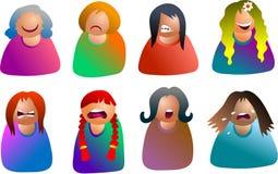 emoticonskvinnlig royaltyfri illustrationer