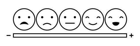 Emoticonslynneskala royaltyfri illustrationer