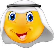 Emoticonsmiley med den arabiska klänningen royaltyfri illustrationer