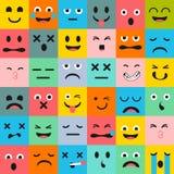Emoticonsmodell Emoji fyrkantsymboler vektor illustrationer