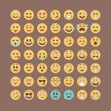Emoticonssamling Plan emojiuppsättning Gullig smileyssymbolspacke Vektorillucttration Royaltyfri Foto