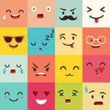 Emoticonsvektormodell Emoji fyrkantsymboler Arkivbild