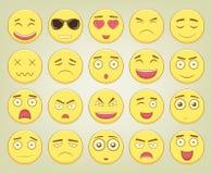 Emoticonuppsättning Emoticon för webbplatsen, pratstund, sms Modern plan design vektor Arkivfoto