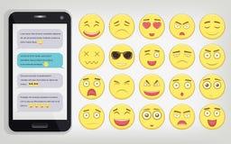 Emoticonuppsättning med telefonen Emoticon för webbplatsen, pratstund, sms Modern plan design vektor Arkivfoton