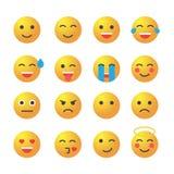Emoticonuppsättning Samling av emoji emoticons 3d Royaltyfri Bild