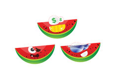 Emoticonvattenmelon Fotografering för Bildbyråer