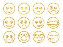 Emoticonvektorillustration Stellen Sie Emoticongesicht auf einem weißen Hintergrund ein Sammlungsgefühle Linie Art Unterschiedlic Stockbilder