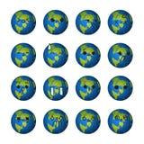 Emoticonwelt - stellen Sie Welt-lowpoly nettes Vektordesign gegenüber Stockfotos