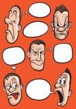Emotiegezichten met de vectorinzameling van toespraakballons Stock Foto's