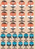 Emoties 2 van het karakter Stock Afbeeldingen