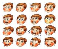 Emoties. De gelaatsuitdrukkingen van het beeldverhaal Royalty-vrije Stock Foto