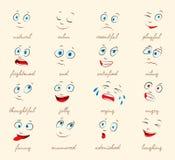 Emoties. De gelaatsuitdrukkingen van het beeldverhaal Stock Foto
