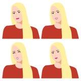 Emoties en gevoel van een meisje op een witte achtergrond stock illustratie