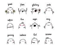 Emoties en gevoels de reeks van twaalf overhandigt getrokken illustraties stock illustratie
