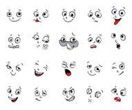 Emoties. Geplaatste beeldverhaalgelaatsuitdrukkingen Stock Fotografie