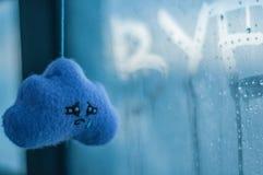 emoties Inschrijving op zwetend glas Met de hand gemaakte stuk speelgoed wolk stock afbeelding