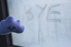 emoties Inschrijving op zwetend glas Met de hand gemaakte stuk speelgoed wolk royalty-vrije stock afbeelding
