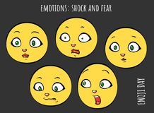 Emoties - schok en vrees - vectorreeks van emoji vector illustratie
