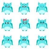 Emoties van blauwe uilen Royalty-vrije Stock Foto's