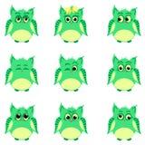 Emoties van groene uilen Royalty-vrije Stock Foto
