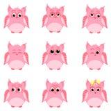 Emoties van roze uilen Royalty-vrije Stock Afbeelding