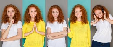 Emotiesreeks van jonge vrouw bij studioachtergrond Stock Fotografie