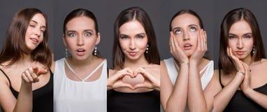Emotiesreeks van jonge vrouw bij studioachtergrond Stock Afbeelding