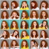 Emotiesreeks van jonge vrouw bij studioachtergrond Royalty-vrije Stock Afbeeldingen