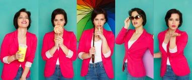 Emotiesreeks van jonge vrouw bij studioachtergrond Royalty-vrije Stock Fotografie