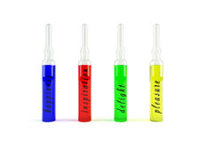 Emotion ampoule. Glass emotion ampoules of different colour on white background Stock Photography