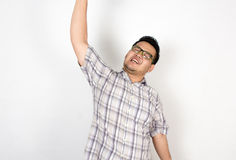 Emotion of Asian fat man Stock Photo