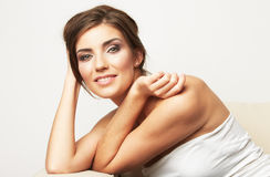Emotion beauty portrait of beautiful woman isolated Royalty Free Stock Photo