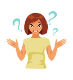 Emotion bewilderment. Girl with a shock expression. Emotion of error and bewilderment. Vector illustration Stock Photo