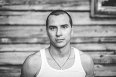 Emotion black and white portrait of man. film grain effect Stock Images