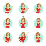 Emotion Body Language Illustration Set With Woman Demonstrating Royalty Free Stock Images