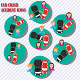 Emotion car crash accident icons Royalty Free Stock Photography