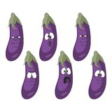 Emotion cartoon eggplant vegetables set 010 Royalty Free Stock Photography