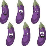 Emotion cartoon eggplant vegetables set 018 Stock Photos