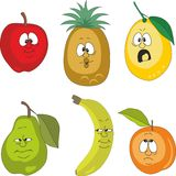 Emotion cartoon fruits set 001 Royalty Free Stock Images